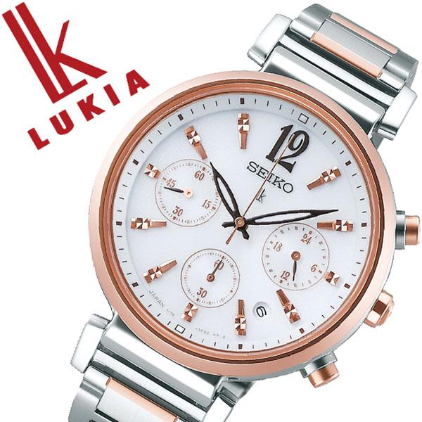 SEIKO 腕時計 セイコー 時計 ルキア LUKIA レディース ホワイト SSVS034 [正規品 ビジネス スーツ オフィスカジュアル シンプル ラウンド ローズゴールド クロノグラフ メタル ソーラー バーゲン プレゼント ギフト]