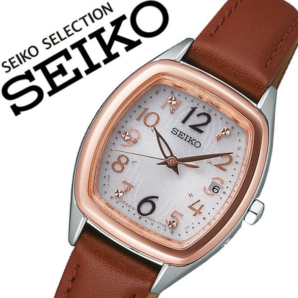 セイコー腕時計 SEIKO時計 SEIKO 腕時計 セイコー 時計 セイコーセレクション SEIKO SELECTION レディース ホワイト SWFH086 [正規品 新作 ブランド 人気 ソーラー 電波時計 ソーラー電波 防水 レザー 革 ベルト ブラウン]