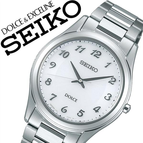 【5年保証対象】セイコー 腕時計 SEIKO 時計 セイコー 時計 SEIKO 腕時計 ドルチェ&エクセリーヌ DOLCE&EXCELINE メンズ ホワイト SADL013 正規品 人気 ブランド プレゼント ギフト ビジネス ペアウォッチ メタル シルバー シンプル ソーラー 防水 薄型 送料無料