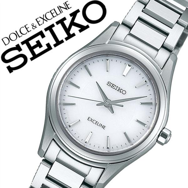 セイコー腕時計 SEIKO時計 SEIKO 腕時計 セイコー 時計 ドルチェ&エクセリーヌ DOLCE&EXCELINE レディース ホワイト SWCQ091 [正規品 人気 ブランド バーゲン プレゼント ギフト ビジネス ペアウォッチ メタル シルバー シンプル ソーラー]
