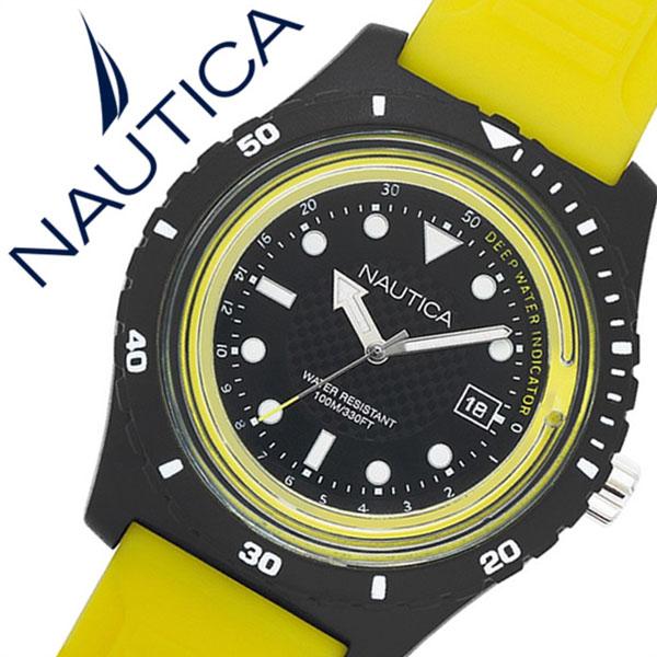 ノーティカ腕時計 NAUTICA時計 NAUTICA 腕時計 ノーティカ 時計 イビサ IBIZA メンズ ブラック NAPIBZ003 [正規品 人気 ブランド 防水 バーゲン プレゼント ギフト ラバー シリコン アウトドア カレンダー イエロー]