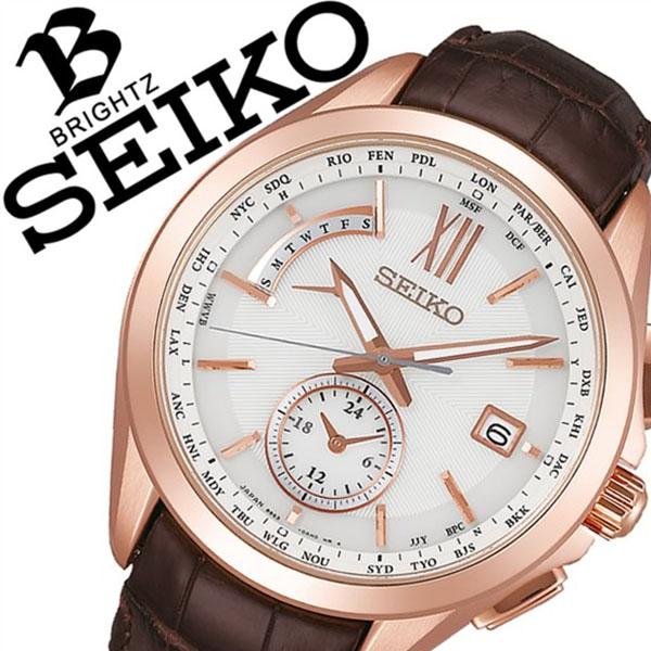 セイコー腕時計 SEIKO時計 SEIKO 腕時計 セイコー 時計 ブライツ BRIGHTZ メンズ ホワイト SAGA252 [ 正規品 定番 華やか ビジネス オフィス クラシカル カレンダー 革 レザー ラウンド ソーラー 電波時計 ブラウン バーゲン プレゼント ギフト ]