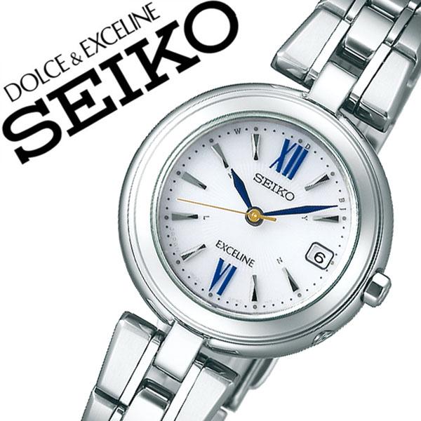セイコー 腕時計 SEIKO 時計 セイコー 時計 SEIKO 腕時計 ドルチェ&エクセリーヌ DOLCE&EXCELINE レディース ホワイト SWCW131 [ 正規品 ブランド 定番 ドルエク ラウンド ビジネス カジュアル 上品 カレンダー ソーラー 電波時計 シルバー プレゼント ギフト 送料無料 ]