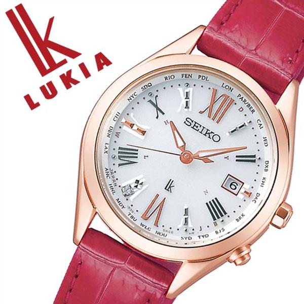 セイコー ルキア 腕時計 SEIKO 時計 LUKIA レディース ホワイト SSQV042[正規品 ソーラー 電波時計 上品 シンプル 人気 おすすめ ビジネス ビジカジ 大人 かわいい おしゃれ ファッション カレンダー 革 レザー ピンク プレゼント ギフト]