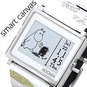 エプソン スマートキャンバス 時計 EPSON Smart Canvas 腕時計 ムーミン コミックス ひとりぼっちのムーミン MOOMIN COMICS ユニセックス レディース W1-MM50110[正規品 かわいい おしゃれ デジタル スクエア 北欧 コミック ホワイト ムーミン 誕生日 プレゼント]
