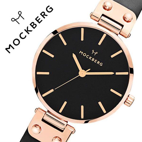 モックバーグ 腕時計 MOCKBERG 時計 オリジナル Originals Sigrid Black メンズ レディース ブラック MO110[正規品 人気 ブランド 就活 上品 エレガント クラシック ビジネス スーツ アクセサリー シンプル ラウンド 革 レザー ピンクゴールド ブラック プレゼント ギフト]