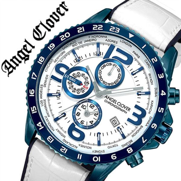 エンジェルクローバー 腕時計 Angel Clover 時計モンド MOND メンズ ホワイト MO44BNV-WH[正規品 人気 ブランド ファッション カジュアル おしゃれ スーツ ビジネス クロノグラフ ワールドタイム 革 レザー プレゼント ギフト]