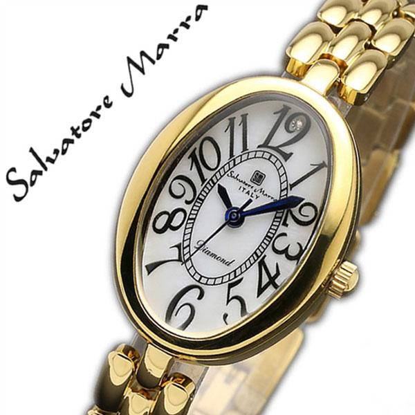 サルバトーレマーラ 腕時計 SalvatoreMarra 時計 サルバトーレ マーラ 時計 Salvatore Marra 腕時計 レディース ホワイト SM17152-GDWH ブランド ビジネス スーツ ファッション ブレスレット ダイヤモンド オーバル ステンレス ゴールド プレゼント ギフト 送料無料
