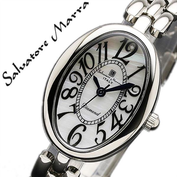 サルバトーレマーラ 腕時計 SalvatoreMarra 時計 サルバトーレ マーラ 時計 Salvatore Marra 腕時計 レディース ホワイト SM17152-SSWH ブランド ビジネス スーツ ファッション ブレスレット ダイヤモンド オーバル ステンレス シルバー プレゼント ギフト 送料無料