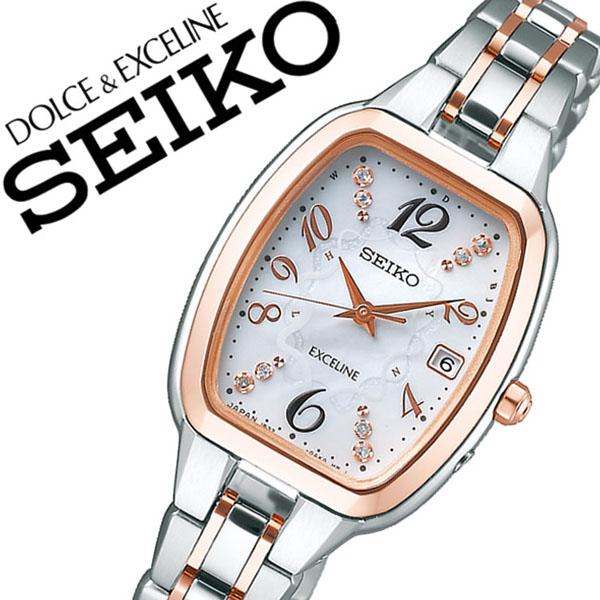 【5年保証対象】セイコー 腕時計 SEIKO 時計 セイコー 時計 SEIKO 腕時計 ドルチェ&エクセリーヌ AUSEコラボモデル DOLCE&EXCELINE AUSE レディース 白蝶貝 SWCW138 [ ブランド ビジネス カジュアル ソーラー 電波時計 母の日 コスメ シルバー ギフト ][送料無料]