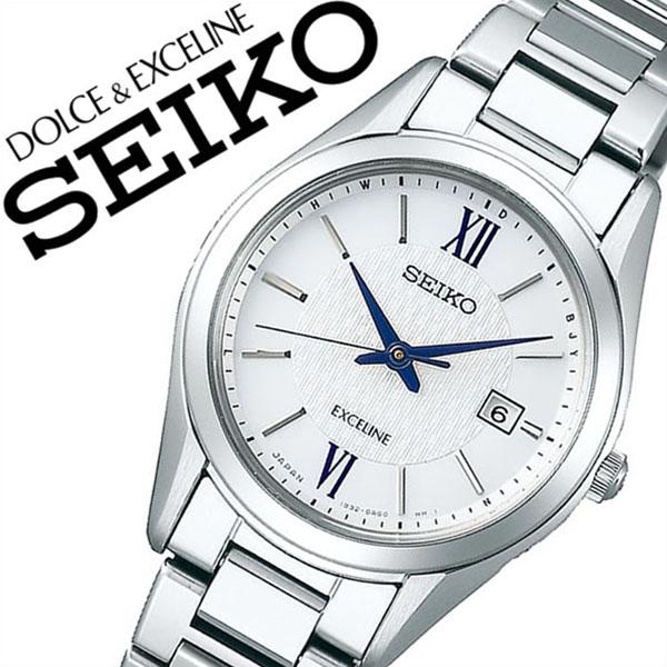 【5年保証対象】セイコー 腕時計 SEIKO 時計 セイコー 時計 SEIKO 腕時計 ドルチェ&エクセリーヌ EXCELINE レディース/ホワイト SWCW145 [ ビジネス スーツ オフィスカジュアル ラウンド シンプル ステンレス ソーラー 電波時計 シルバー プレゼント ギフト]