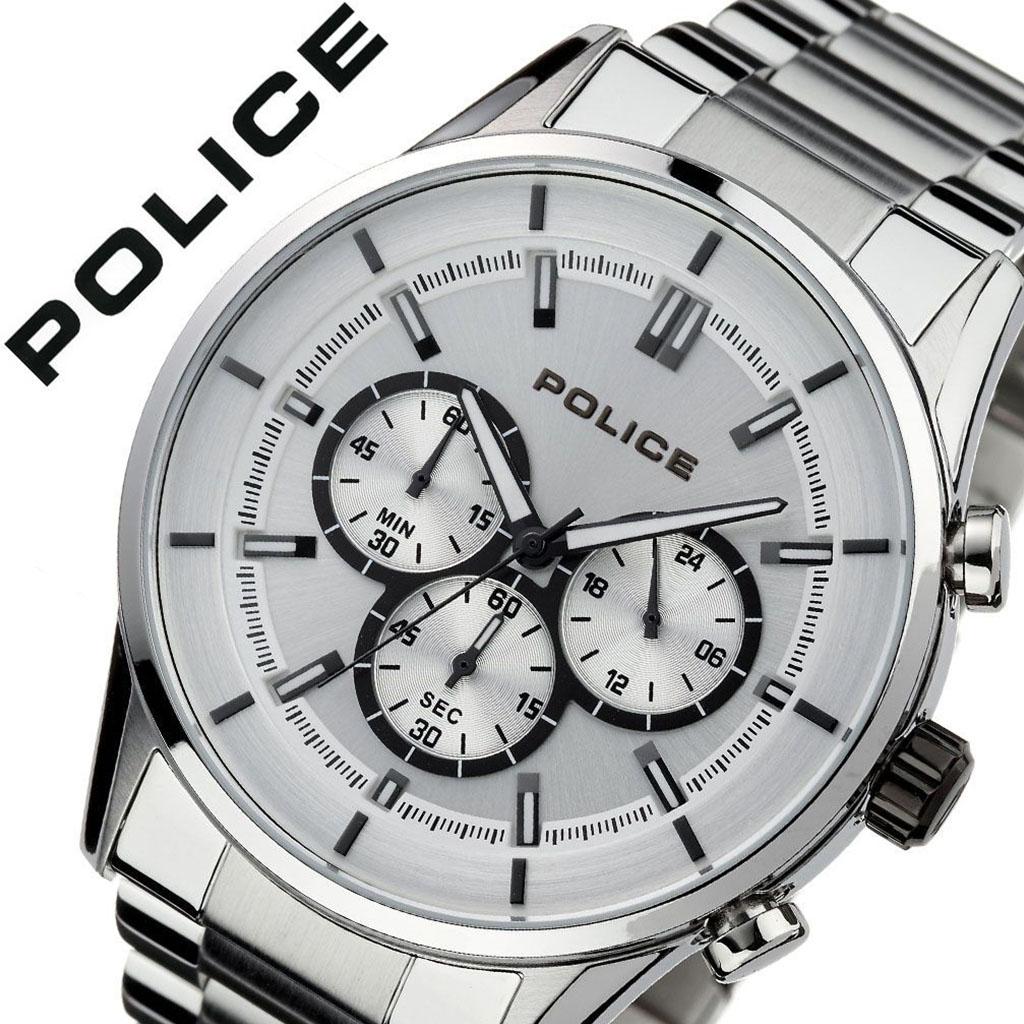 【5年保証対象】ポリス 腕時計 POLICE 時計 ポリス 時計 POLICE 腕時計 ラッシュ RUSH メンズ ホワイト 15001JS-04M [ ブランド 人気 防水 シルバー ステンレス スーツ ビジネス カジュアル おしゃれ 男らしい クロノグラフ 男性 プレゼント ギフト ][送料無料]