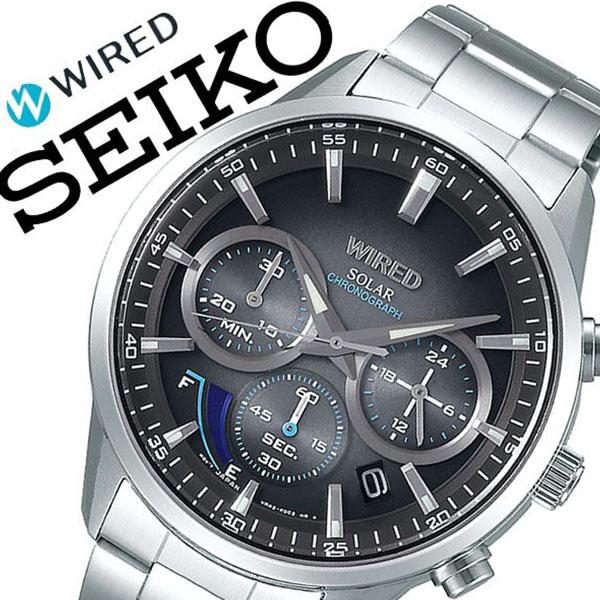 【5年保証対象】セイコー 腕時計 SEIKO 時計 セイコー 時計 SEIKO 腕時計 ワイアード WIRED メンズ ブラック AGAD095 ブランド おすすめ ビジネス スーツ カジュアル 防水 シルバー ステンレス ソーラー プレゼント 父の日 ギフト