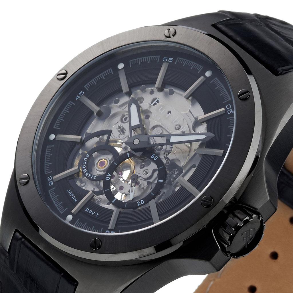 3085542349 激安直営店 フルボデザイン腕時計 Furbo design時計 メンズ ブラック ...