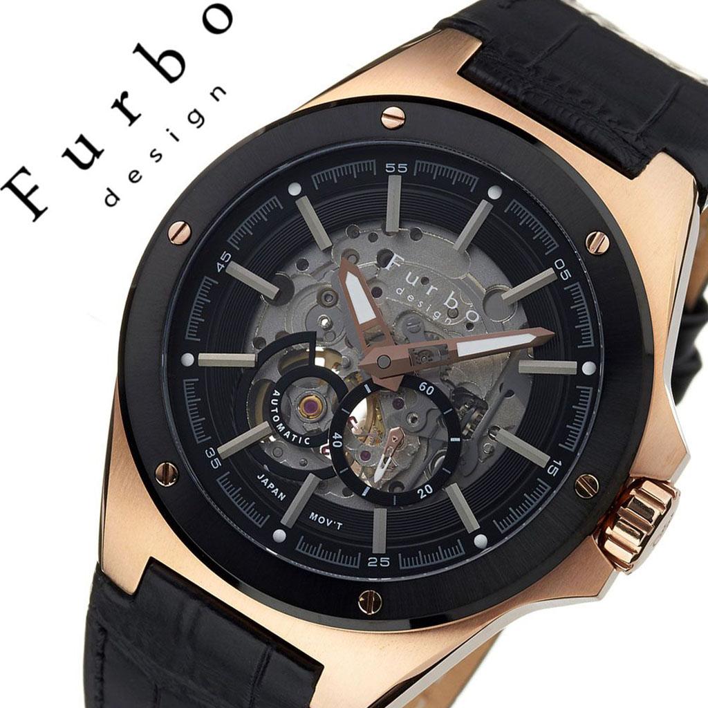 [当日出荷] フルボデザイン腕時計 Furbo design時計 メンズ ブラック F2501PBKBK [ 正規品 ブランド 防水 レザー スーツ 革 ビジネス カジュアル おしゃれ 機械式 メカニカル スケルトン プレゼント ギフト ]