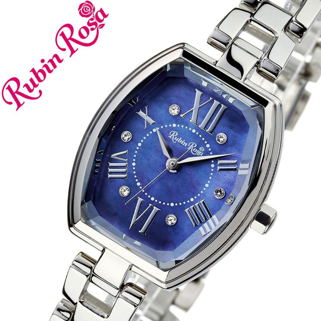 【5年保証対象】ルビンローザ 腕時計 RubinRosa 時計 ルビン ローザ 時計 Rubin Rosa 腕時計 レディース ブルー R018SOLSBL [ ブランド 防水 シルバー ステンレス カジュアル おしゃれ 就活 ソーラー クリスタル トノー 楕円 プレゼント ギフト ][送料無料]