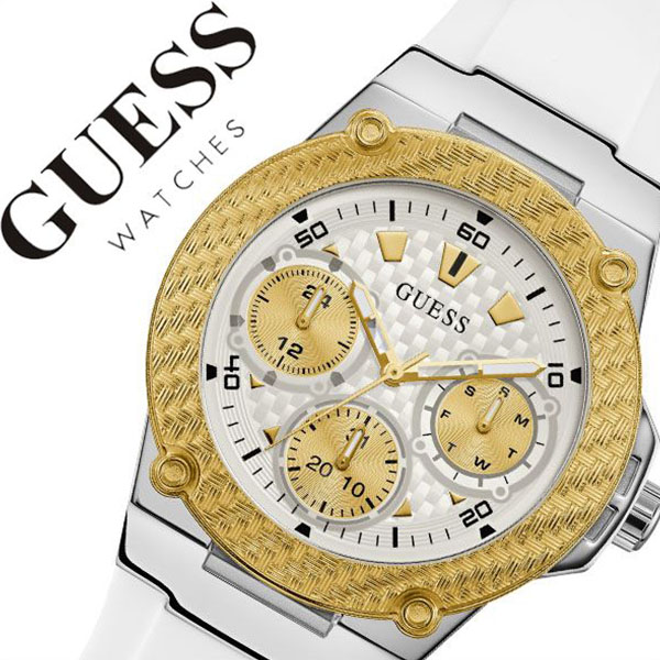 11aba24b4 ゲス watch GUESS clock ゲス clock GUESS watch Zener ZENA Lady's white W1094L1  [regular article ...