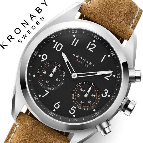 クロナビー 腕時計 KRONABY 時計 クロナビー 時計 KRONABY 腕時計 アペックス APEX メンズ A1000-3112 シルバー ブラック レザー 革 北欧 スマートウォッチ ラウンド アプリ カレンダー GPS 高機能 アナログ ブルートゥース ビジネス シンプル コネクト ウォッチ 送料無料