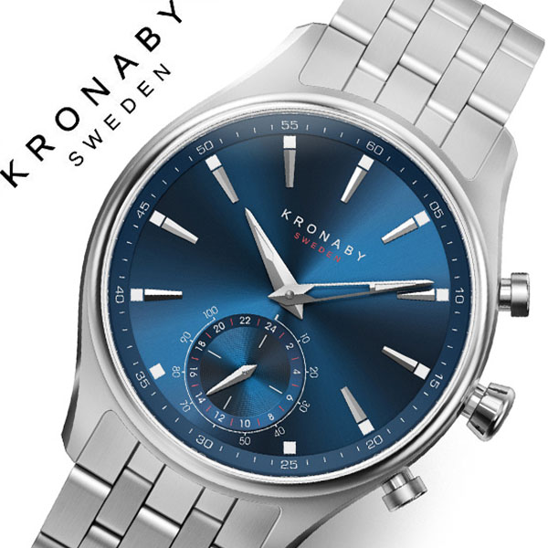 クロナビー 腕時計 KRONABY 時計 クロナビー 時計 KRONABY 腕時計 セイケル SEKEL メンズ A1000-3119 シルバー ブルー 北欧 ステンレス スマートウォッチ ラウンド アプリ カレンダー GPS 高機能 アナログ ブルートゥース ビジネス シンプル コネクト ウォッチ 送料無料