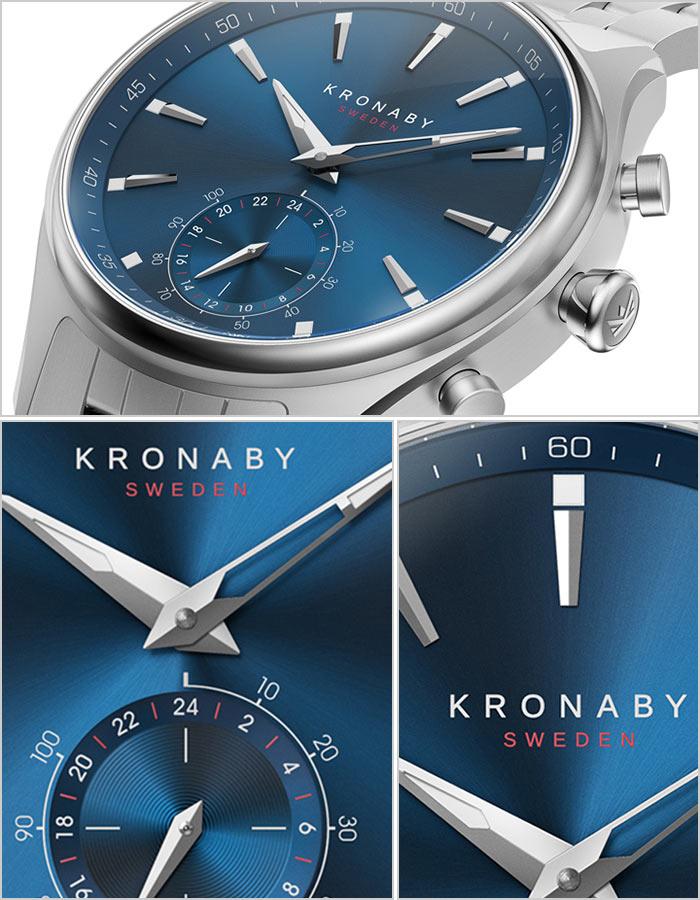 クロナビー 時計 KRONABY 腕時計 セイケル SEKEL メンズ ブルー A1000-3119[正規品 シルバー ブルー 北欧 ステンレス スマートウォッチ ラウンド アプリ カレンダー GPS ハイスペック アナログ ブルートゥース ビジネス シンプル]