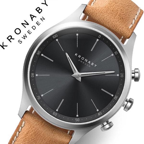 クロナビー 腕時計 KRONABY 時計 クロナビー 時計 KRONABY 腕時計 セイケル SEKEL メンズ A1000-3123 ブラック レザー 革 北欧 スマートウォッチ ラウンド アプリ カレンダー GPS 高機能 アナログ ブルートゥース Bluetooth ビジネス シンプル コネクト ウォッチ 送料無料