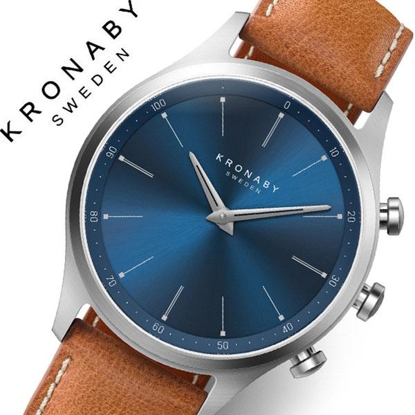 【3,630円引き】クロナビー 腕時計 KRONABY 時計 クロナビー KRONABY セイケル SEKEL メンズ A1000-3124 ブルー レザー 革 北欧 スマートウォッチ ラウンド アプリ カレンダー GPS 高機能 アナログ ブルートゥース Bluetooth ビジネス シンプル コネクト ウォッチ