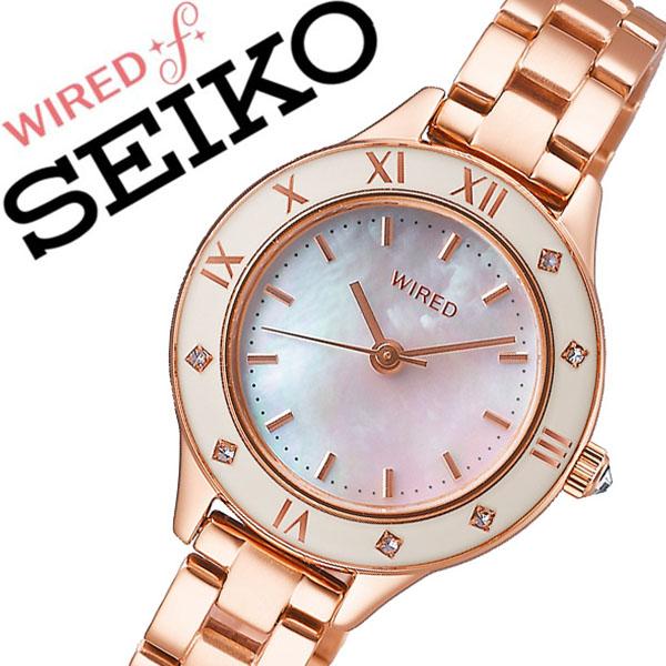 セイコー ワイアード 腕時計 SEIKO WIRED 時計 セイコー 時計 SEIKO 腕時計 レディース ホワイトシェル AGEK441 スワロフスキー クリスタル シェル プレゼント ギフト シンプル ラウンド ワイアードエフ ビジネス ファッション カジュアル 送料無料