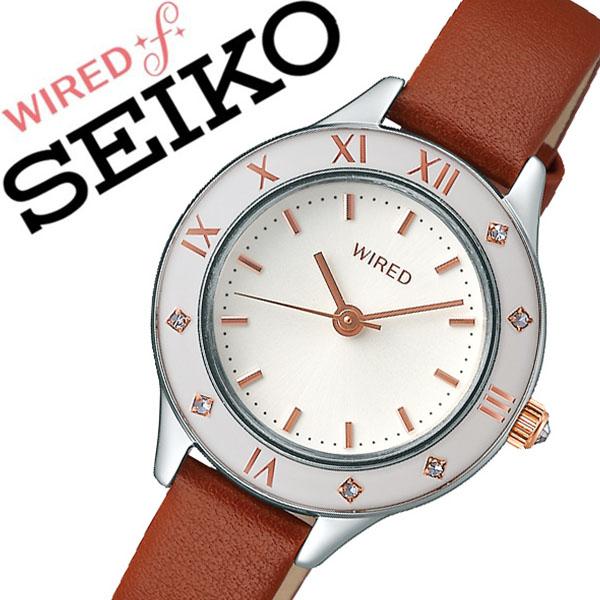 セイコー ワイアード 腕時計 SEIKO WIRED 時計 セイコー 時計 SEIKO 腕時計 レディース ホワイト AGEK442 スワロフスキー クリスタル 革 プレゼント ギフト シンプル ラウンド ワイアードエフ ビジネス ファッション カジュアル 送料無料