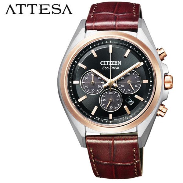 シチズン 腕時計 CITIZEN 時計 シチズン 時計 CITIZEN 腕時計 アテッサ ATTESA メンズ ブラック CA4395-01E アナログ ラウンド 革ベルト ゴールド エコ ドライブ 人気 おしゃれ クロノ カジュアル ファッション ブランド ビジネス ギフト 送料無料