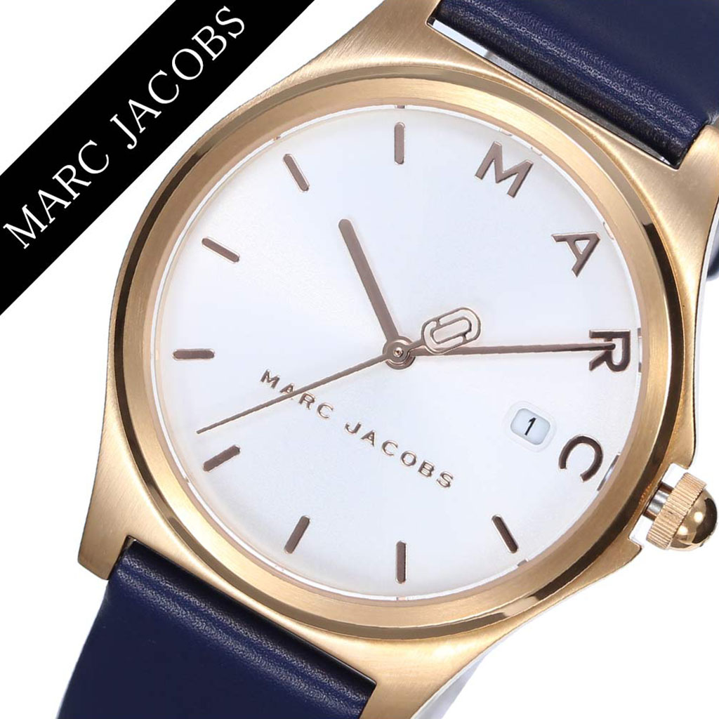 マークジェイコブス 腕時計 MarcJacobs 時計 マーク ジェイコブス 時計 Marc Jacobs 腕時計 マークバイマークジェイコブス ヘンリー HENRY レディース ホワイト MJ1609 ブランド ネイビー ローズゴールド 人気 レザー ベルト シンプル カレンダー かわいい おしゃれ 送料無料