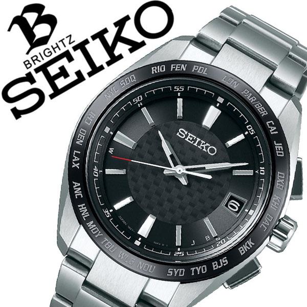 【5年保証対象】セイコー 腕時計 SEIKO 時計 セイコー 時計 SEIKO 腕時計 ブライツ BRIGHTZ メンズ ブラック SAGZ091 アナログ ソーラー 電波 プレゼント ギフト ラウンド ビジネス ファッション カジュアル 人気 送料無料