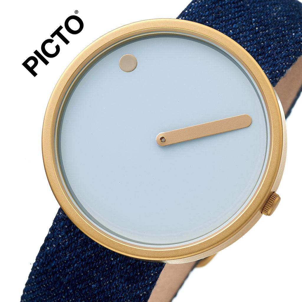 ピクト 腕時計 PICTO 時計 ピクト時計 ピクト腕時計 ゴールドケース アンド デニムストラップ GOLD CASE & DEMIN STRAP メンズ レディース ブルー 43332-5220MG 人気 おしゃれ トレンド おすすめ 北欧 ゴールド ブランド シンプル アナログ カジュアル プレゼント 送料無料