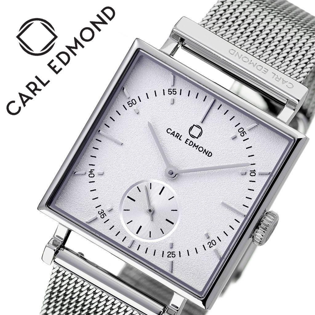 [当日出荷] カールエドモンド 腕時計 CARLEDMOND 時計 カール エドモンド CARL EDMOND グラニット Granit レディース ホワイト CEG2901-M18 [ 人気 ブランド 北欧 デザイン ミニマル スウェーデン ペアウォッチ スモールセコンド スクエア型 四角 個性的 ファッション ]