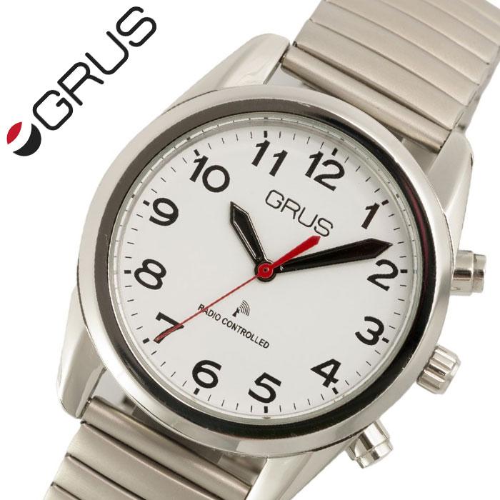 [当日出荷] グルス 腕時計 GRUS 時計 ボイス 電波 腕時計 ユニセックス メンズ レディース ホワイト GRS003-01 [ 人気 ブランド おすすめ ボイス電波時計 ボイスウォッチ トーキングウォッチ 蛇腹 じゃばら 全盲 弱視者 盲目 視覚障がい者 プレゼント ギフト ]送料無料