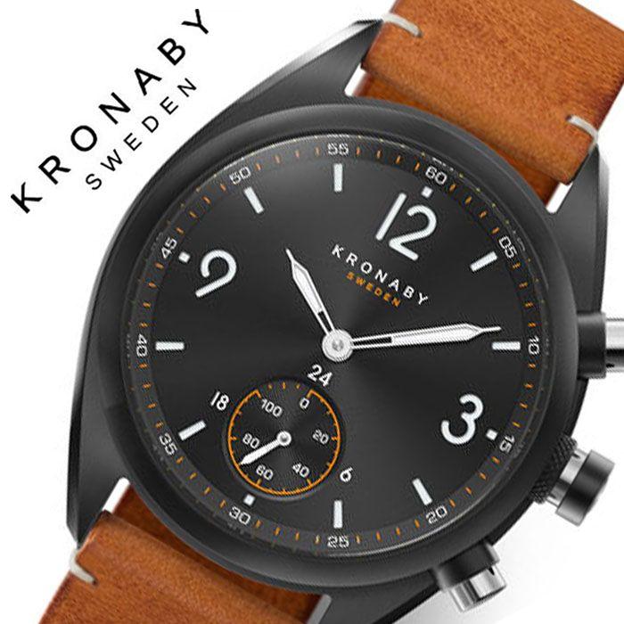 クロナビー 腕時計 KRONABY 時計 エイペックス APEX メンズ ブラック A1000-3116 正規品 防水 スマートウォッチ スマートフォン スマホ SMART WATCH コネクトウォッチ 北欧 健康 充電不要 レザー 革 ベルト シンプル 仕事 スーツ ビジネス プレゼント 父の日 ギフト