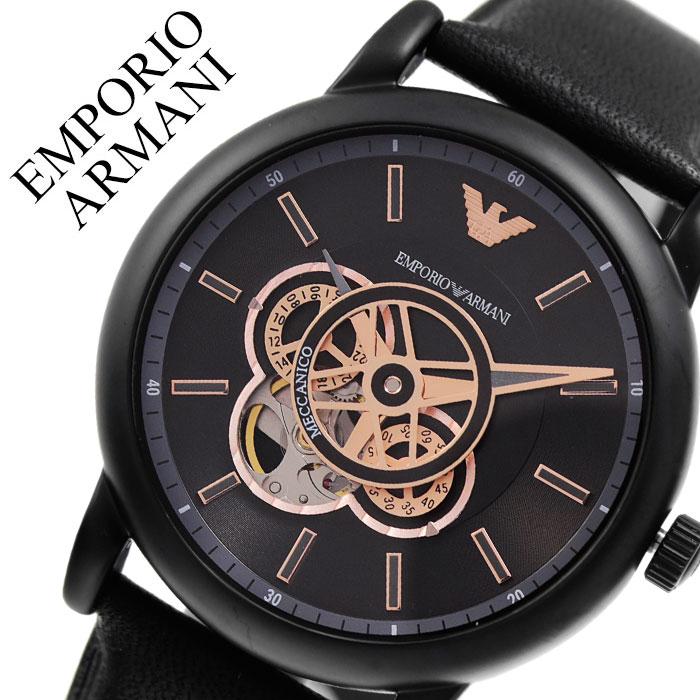 エンポリオアルマーニ 腕時計 EMPORIOARMANI 時計 エンポリオ アルマーニ EMPORIO ARMANI メカニコ Meccanico メンズ ブラック AR60012 人気 高級 ブランド おしゃれ フォーマル スーツ ビジネス 自動巻 機械式 自動巻き オートマ スケルトン プレゼント 父の日 ギフト