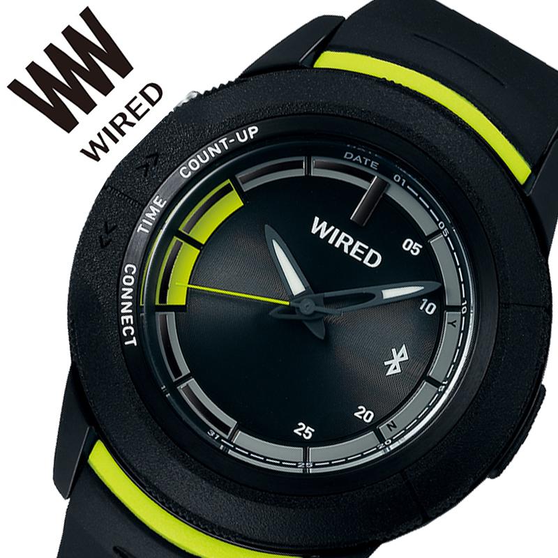 【5年保証対象商品】セイコー 腕時計 SEIKO 時計 ワイアード ツーダブ WIRED WW TYPE 04 メンズ ブラック AGAB415 [ 正規品 人気 ブランド Bluetooth スマートフォン タイマー カレンダー 個性的 ストリート カジュアル おしゃれ 簡単 大きめ 大きい 誕生日 プレゼント ]