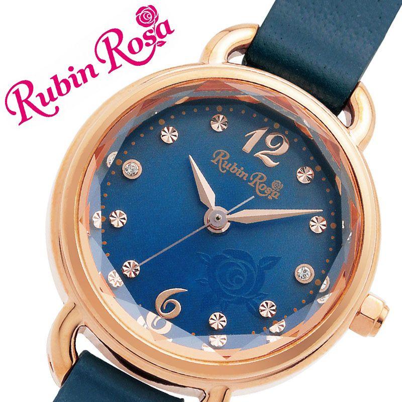 [当日出荷] ルビンローザ 腕時計 RubinRosa 時計 ルビン ローザ Rubin Rosa レディース ブルー R019SOLPNV [ 人気 ブランド おすすめ おしゃれ 革ベルト 大人 かわいい ビジネス オフィス カジュアル シンプル ちいさめ 丸型 スワロフスキークリスタル ソーラー ]