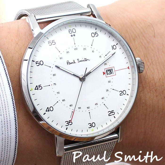 ポールスミス 腕時計 PAULSMITH 時計 ポールスミス 時計 PAUL SMITH 腕時計 ゲージ GAUGE 41MM メンズ ホワイト P10075 新作 人気 高級 トレンド ブランド シンプル イギリス ギフト プレゼント メタル ベルト メッシュ シルバー 送料無料