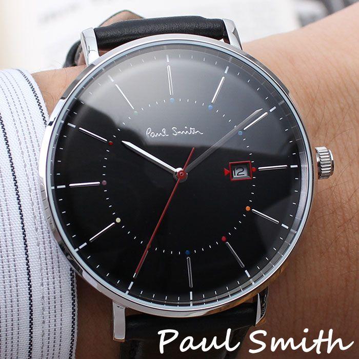 ポールスミス 腕時計 Paulsmith 時計 ポール スミス 時計 Paul smith 腕時計 トラック Track メンズ ブラック P10085 新作 人気 ブランド 防水 レザー 革 おしゃれ シルバー シンプル 送料無料