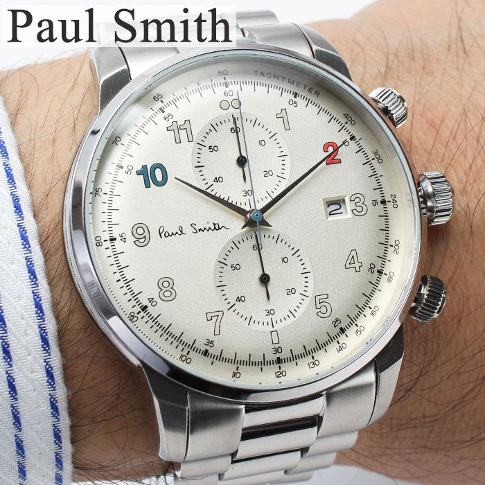 ポールスミス 時計 PAULSMITH 腕時計 ポール スミス 腕時計 PAUL SMITH 時計 メンズ 男性 向け ホワイト 白 P10142 [ おすすめ 定番 ギフト プレゼント 旦那 夫 彼氏 人気 高級感 ブランド シンプル メタル ベルト シルバー スーツ ビジカジ カジュアル ][送料無料]