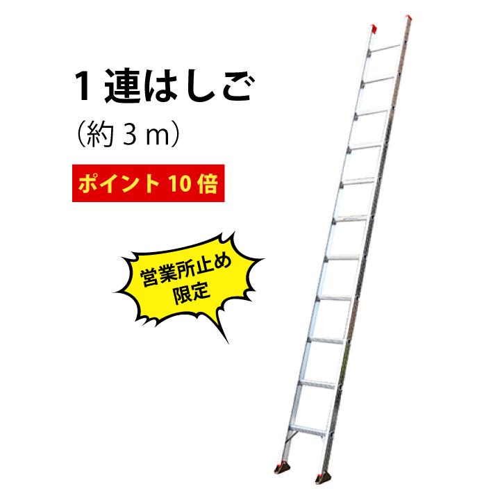 【運送会社営業所お引き取り専用】ポイント10倍 ! 送料無料 ! 軽量 ! スタンダードタイプの1連はしご(2.97m) 1EX-30 はしご 1連