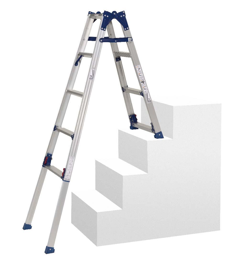 【毎月1日・15日・25日はP-starの日】  前脚・後脚の長さが違い、極度の段差や階段に適したタイプ はしご兼用脚立 SCL-34A ( 脚立 はしご 梯子 階段用 階段 折りたたみ 軽量 送料無料 )