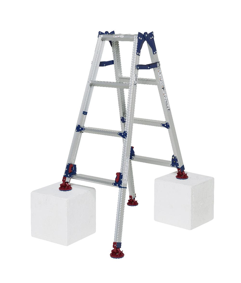 最大段差が約31cmまで対応 自在脚端具にテンションがかかり角度が固定できるタイプ はしご兼用脚立 SCL-J120A ( 4段 4尺 脚立 はしご 梯子 自在脚 折りたたみ 軽量 送料無料 )