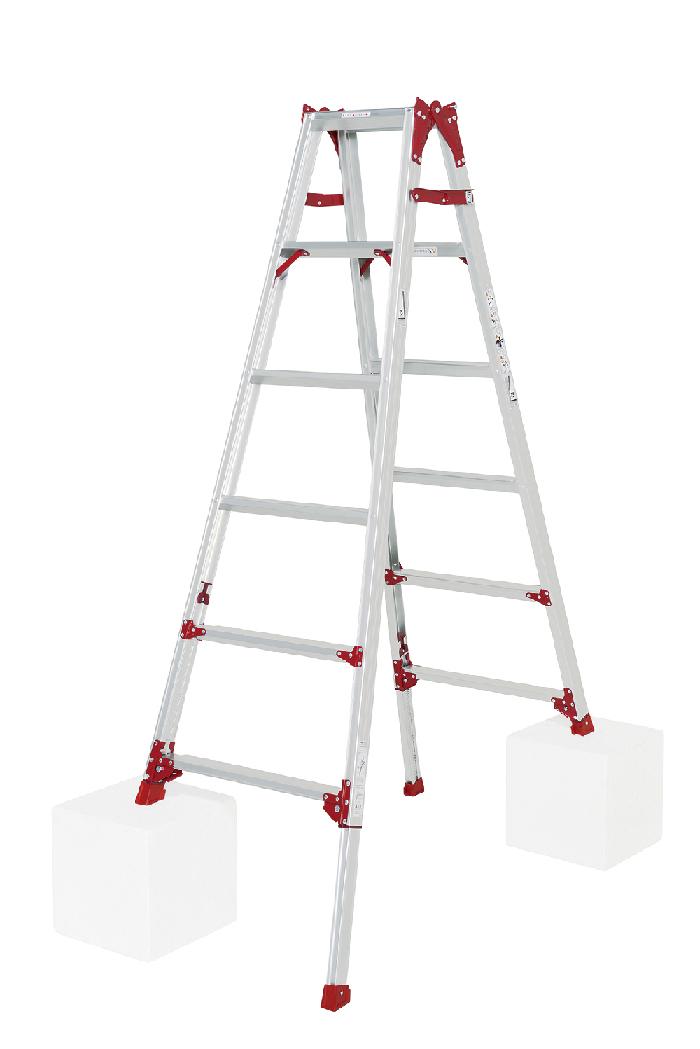 ワンタッチで操作できるシングルロックスタンダードタイプ 四脚アジャスト式はしご兼用脚立 SCP-180 6段 ( 6尺 脚立 折りたたみ 軽量 送料無料 梯子 伸縮 )