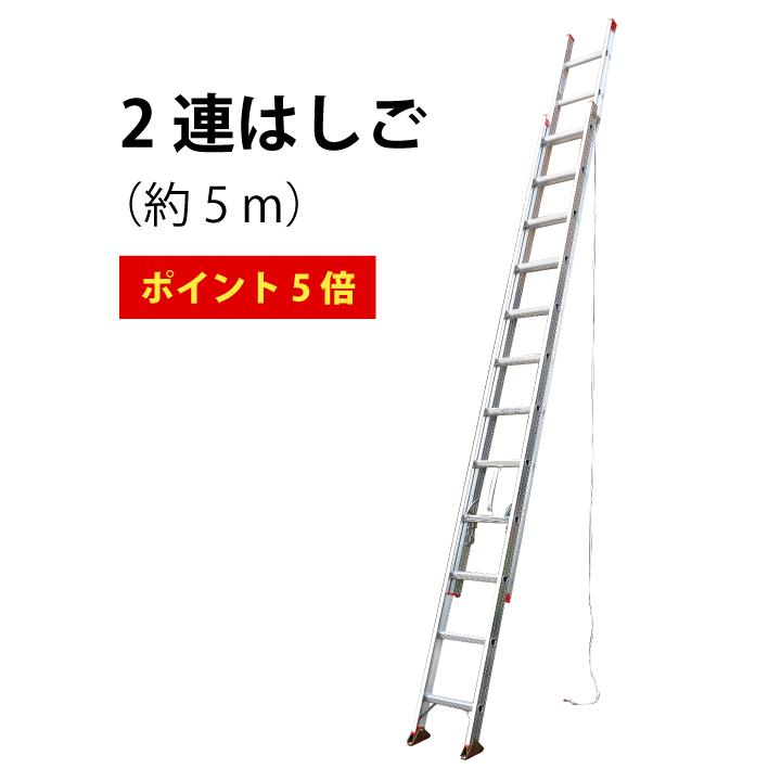 ポイント5倍 送料無料 軽量 スタンダードタイプの2連はしご(5.27m) 伸縮 2EX-50 はしご 2連