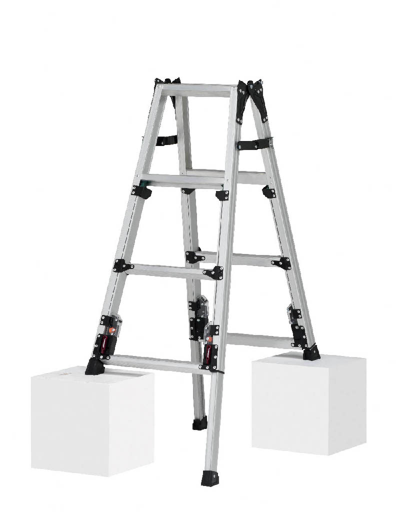 【毎月1日・15日・25日はP-starの日】  最大段差が約31cmまで対応できる上部操作式スタンダードタイプ 四脚アジャスト式はしご兼用脚立 SCN-120A 4段 ( 4尺 脚立 折りたたみ 軽量 送料無料 梯子 伸縮 スタッピー )