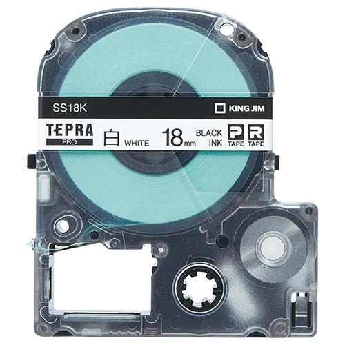 キングジム テプラ PRO テープカートリッジ 18mm 白/黒文字 エコパック SS18K-10PN 1パック(10個) 【送料無料】