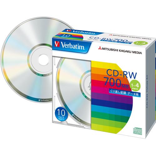データをくり返し書き込めるPCデータ用CD-RW。  バーベイタム データ用CD-RW 700MB 4倍速 ブランドシルバー 5mmスリムケース SW80QU10V1 1パック(10枚)