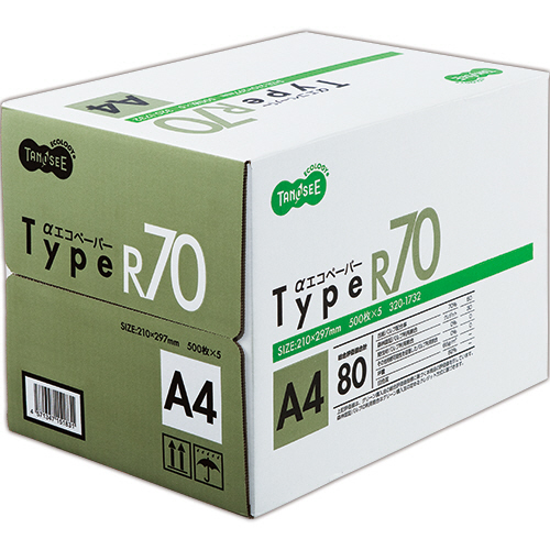 白色度81%仕様の再生紙 TANOSEE αエコペーパー タイプR70 売り込み 2500枚:500枚×5冊 1箱 A4 春の新作